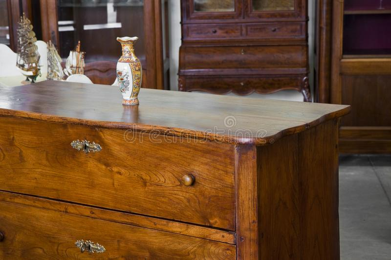 Detail of an ancient italian furniture just restored - Italian c royalty free stock photos