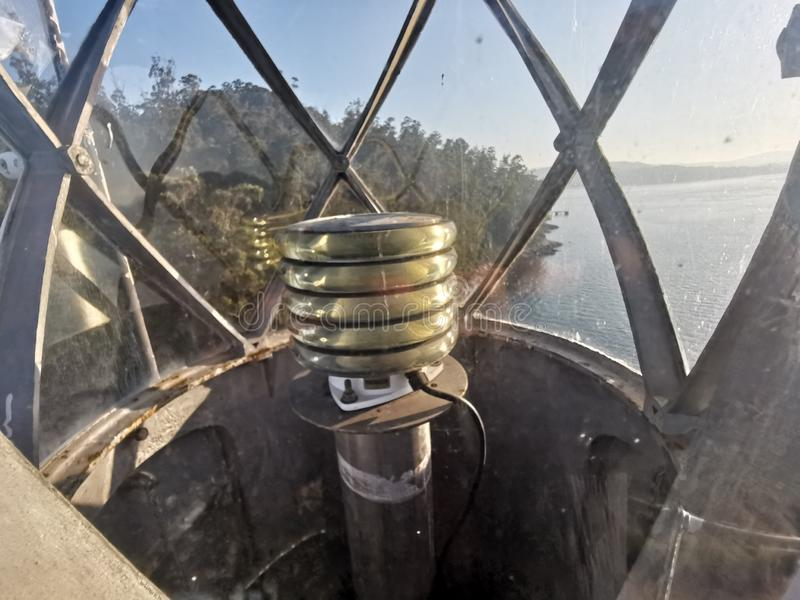 Detail of ancient lighthouse that facilitates navigation and maritime safety. Rhdr stock images
