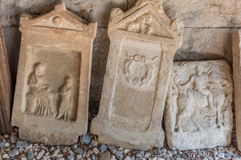 Detail of ancient Roman marble gravestones stock photography