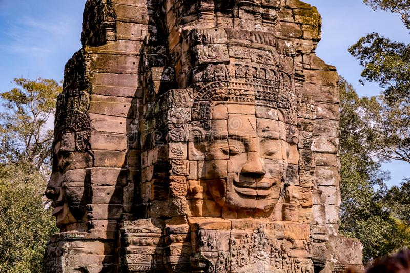 Statue in the Bayon temple royalty free stock photo