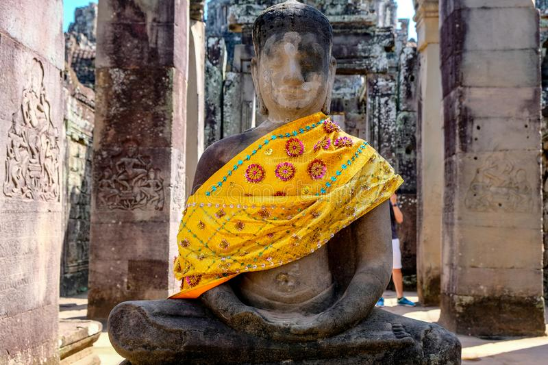 Statue in the Bayon temple stock image