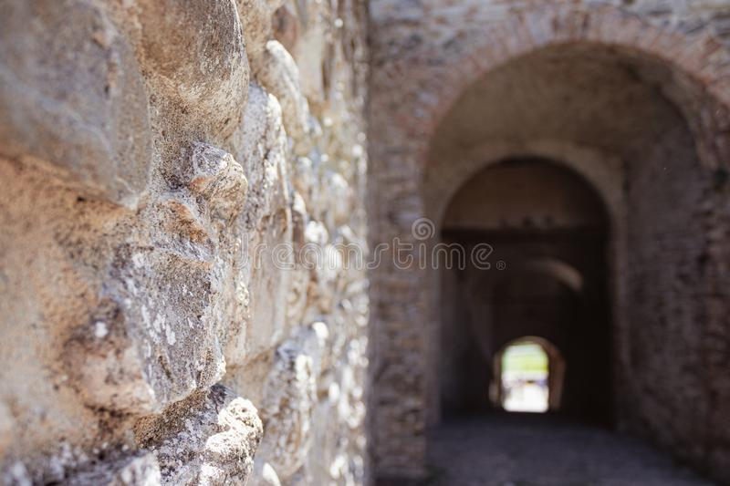 detail of ancient wall and entrance of Torrechiara Castle, medieval castle stock photo