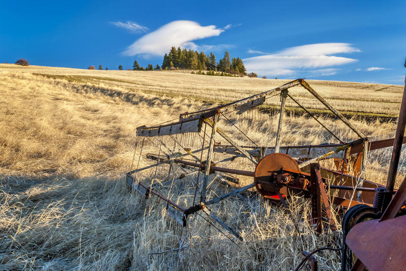 Combine harvesting blade and field stock photos