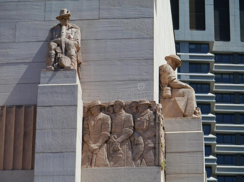 Detail of the Anzac war memorial. Anzac war memorial in hyde park Sydney in Australia stock images