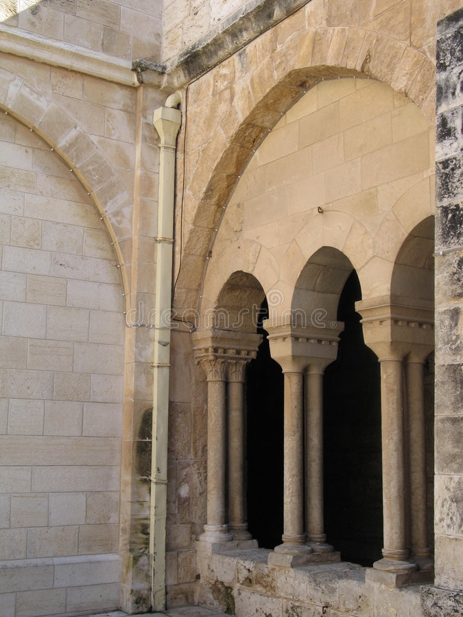 Detail of arcade in Bethlehem stock photography