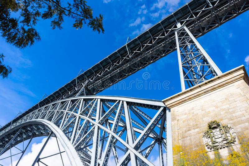 Detail of the architecture the Luis I bridge in Porto. Portugal, dom, cityscape, douro, river, europe, old, tourism, history, landmark, luiz, antique, downtown royalty free stock photos