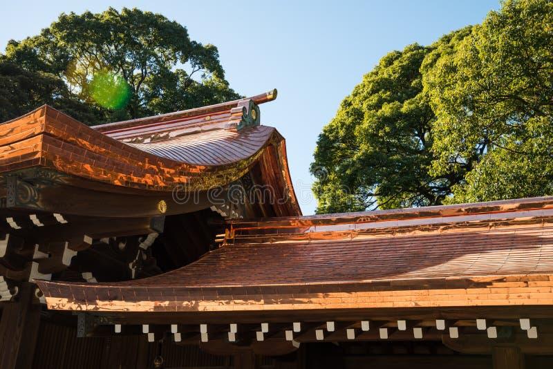 Detail architecture of Meiji-jingu shrine in Harajuku, Tokyo royalty free stock photo