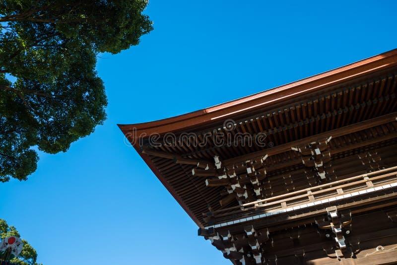 Detail architecture of Meiji-jingu shrine in Harajuku, Tokyo stock image