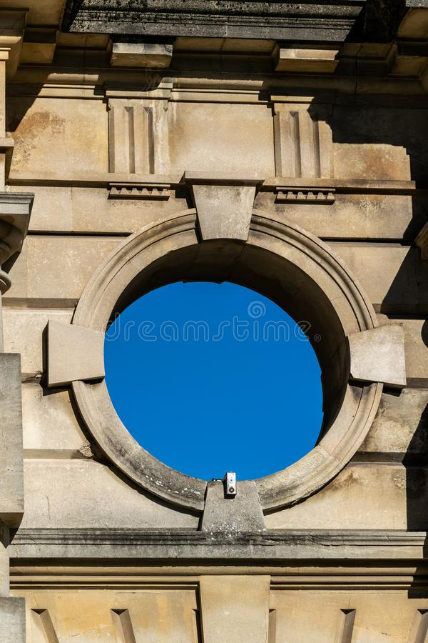 Detail from the archway to Guildhall car park in Orange Grove, Bath which was a former carriage entrance. Detail from the archway to Guildhall car park in Orange royalty free stock image