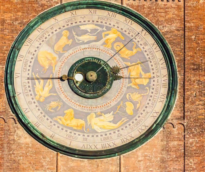 Detail of astronomical clock in Torrazzo tower Cremona Italy. Cremona Italy January 6 2012 on the fourth floor of the tower called the Torrazzo in Cremona is set stock photography