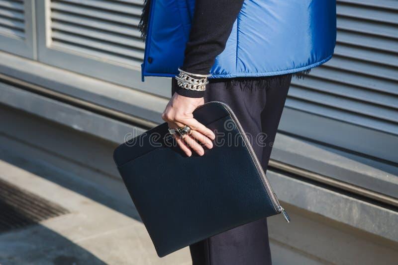 Detail of bag during Milan Men`s Fashion Week royalty free stock images