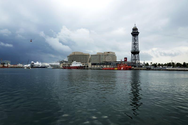 Detail of Barcelona port Muelle De Poniente in 22. September 2017, Spain. Barcelona stock images