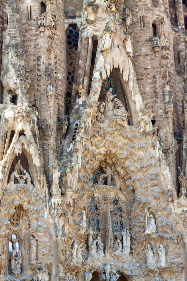 Detail of Sagrada Familia in Barcelona, Spain. Detail of Basilica and Expiatory Church of the Holy Family in Barcelona, Spain stock photo