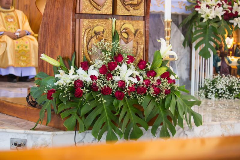 Detail of beautiful flower decoration in a church stock photos