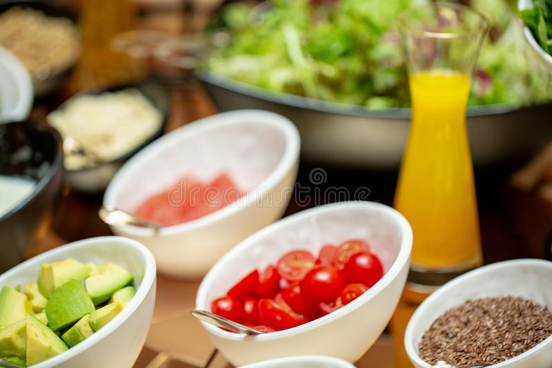 Detail of a beautiful salad buffet with a rich choice, healthy food. At the reception royalty free stock images