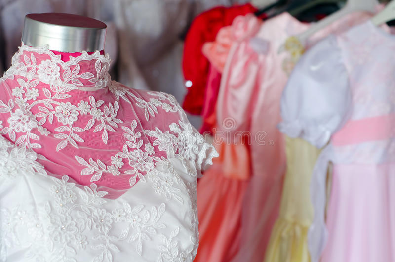 Detail of the beautiful wedding dress in the wedding dress shop royalty free stock image
