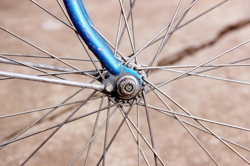 Detail of bicycle`s tire. Wires in focus royalty free stock photos