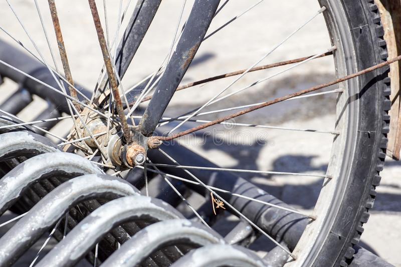 Detail of bicycle wheel . close up bike stock images
