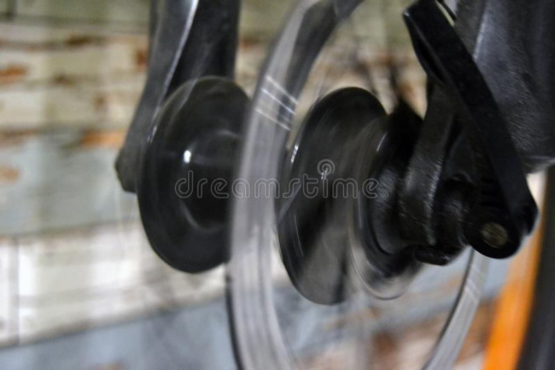 Detail of a bicycle wheel stock image