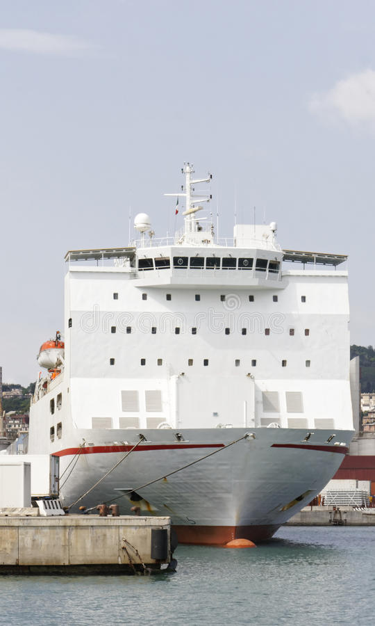 Detail of big white reefer ship. In the harbour of genova royalty free stock photo