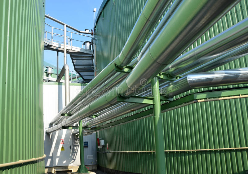 Detail of biogas plant stock photography