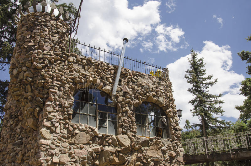 Detail of Bishops Castle in Colorado. For nearly 60 years, this has been being built. Bishop castle is a monumental statue in stone and iron that cries loud stock images