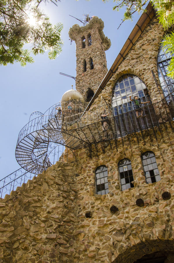Detail of Bishops Castle in Colorado. For nearly 60 years, this has been being built. Bishop castle is a monumental statue in stone and iron that cries loud royalty free stock image