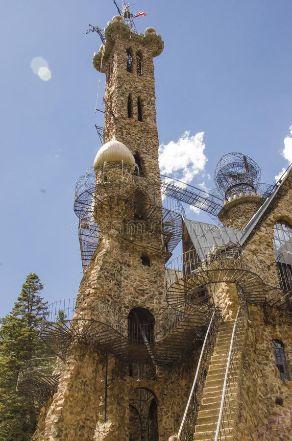 Detail of Bishops Castle in Colorado. For nearly 60 years, Bishops Castle has been in the works of being constructed. It is one of the most impressive monuments stock photography