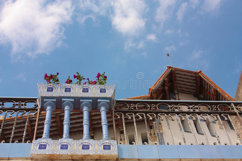 Detail of Blue House, Cadaques, Costa Brava royalty free stock images