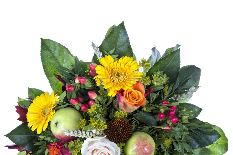 Detail of Bouquet with autumn decoration stock images