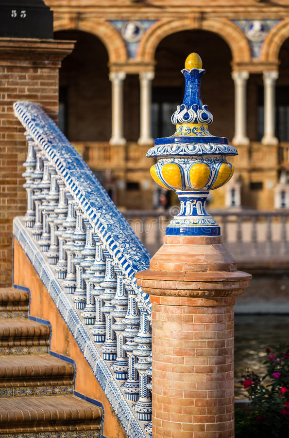 Detail of a bridge on Plaza De Espana. royalty free stock images