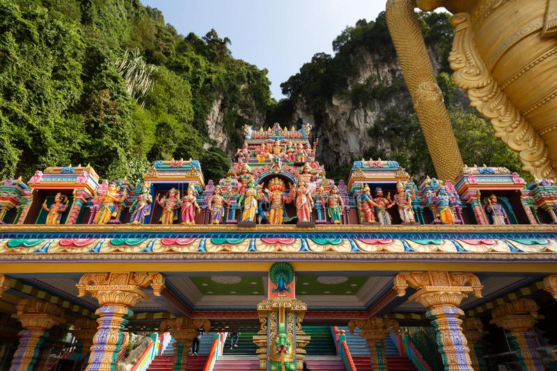 Detail of brightly coloured architecture surrounding the entrance to Temple Cave. Part of the Batu Caves site at Gombok, near Kula Lumpur, Malaysia royalty free stock photos