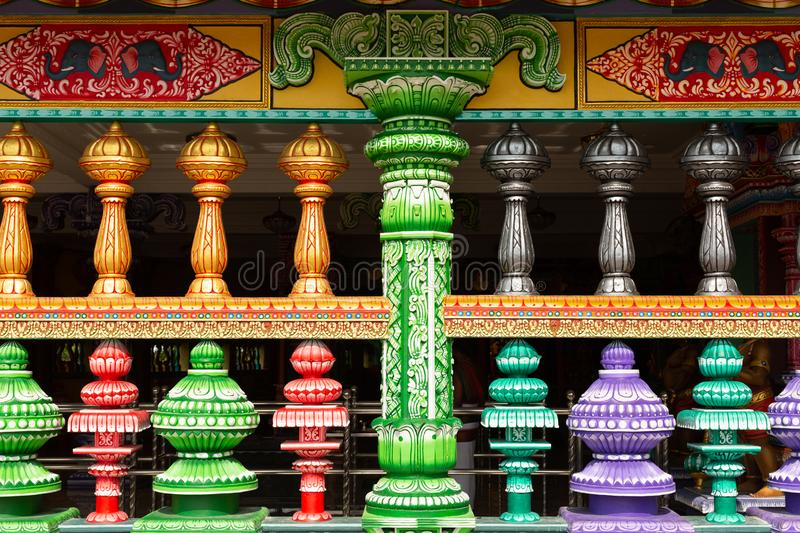 Detail of brightly coloured architecture surrounding the entrance to Temple Cave. Part of the Batu Caves site at Gombok, near Kula Lumpur, Malaysia royalty free stock photo