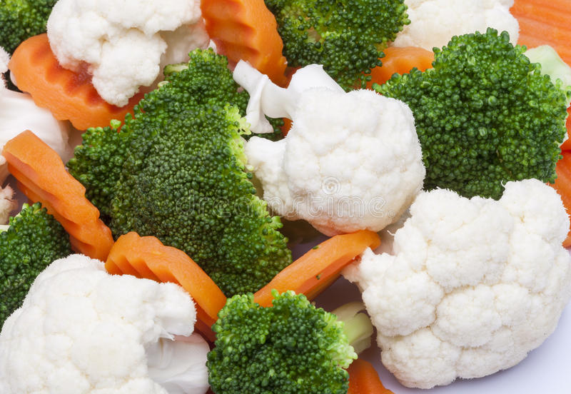 detail of broccoli, carrot and cauliflower stock photo