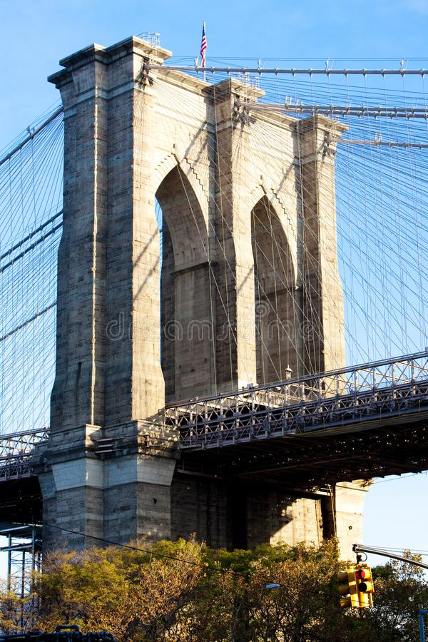 Detail of Brooklyn Bridge, Manhattan, New York City, USA. Outdoor, outdoors, outside, exterior, exteriors, america, north, mid-atlantic, northeast, united royalty free stock image