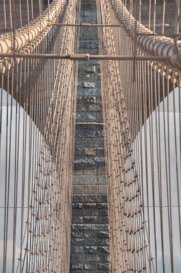 Detail of the Brooklyn bridge, New York City. Detail of the arches and wires of Brooklyn bridge, New York City stock photos