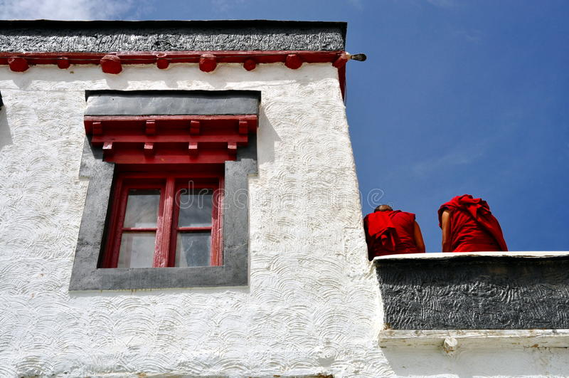 Download Detail Of A Buddhist Temple With Two Monks Stock Image - Image of india, meditate: 26827929