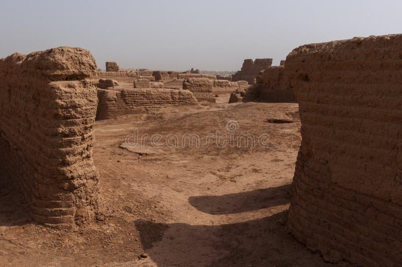 Detail of a building at the Gaochang ruins near the city of Turpan, Xinjiang. China stock photos