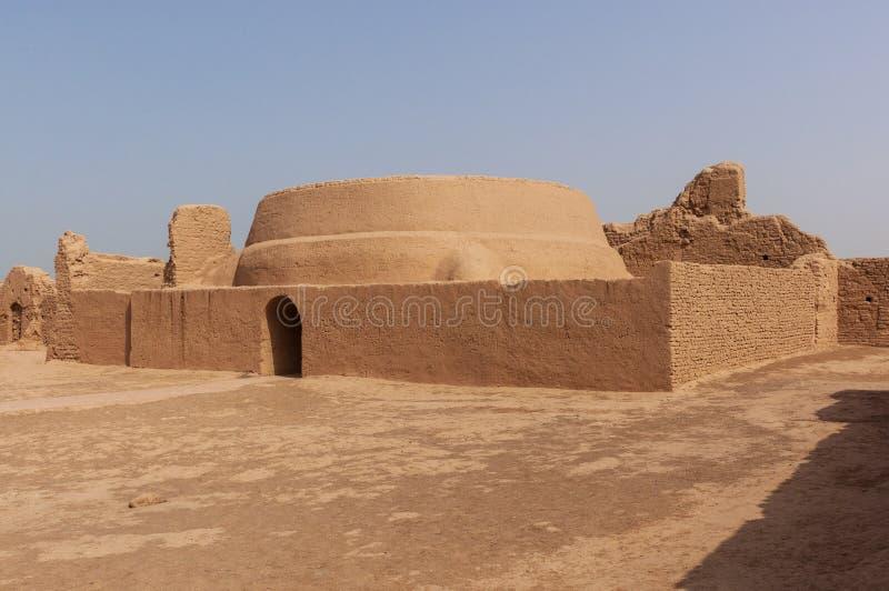 Detail of a building at the Gaochang ruins near the city of Turpan, Xinjiang. China stock image