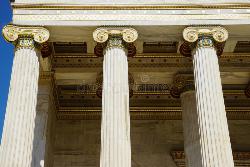 Detail of building of the modern Academy of Athens royalty free stock images
