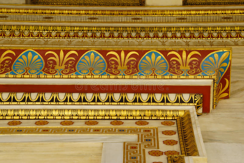 Detail of building of the modern Academy of Athens. stock image