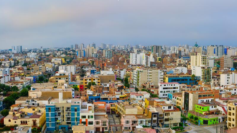 Detail of buildings in the city of Lima capital of Peru in South America.  royalty free stock photography