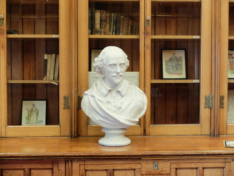 Detail of the bust of Shakespeare in the Library of Birmingham, UK stock image