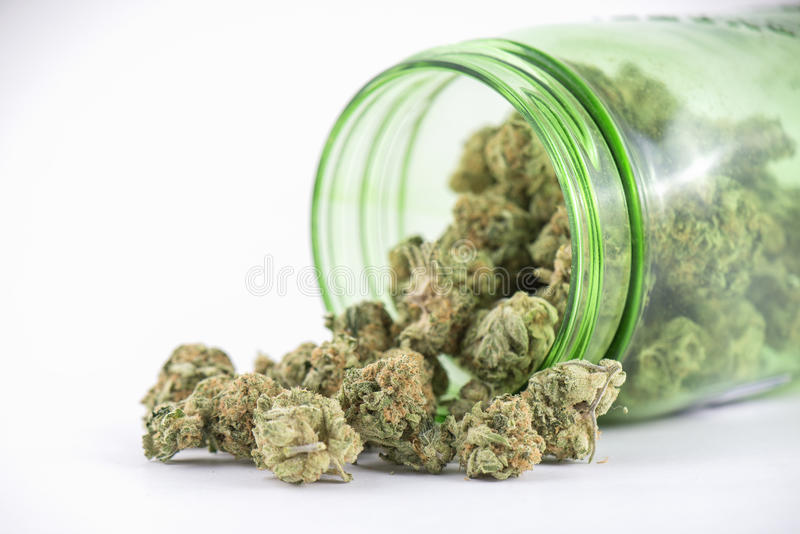 Detail of cannabis buds & x28;ob reaper strain& x29; on green glass jar is stock images