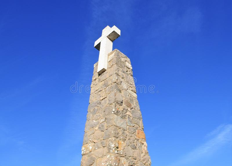 The landmark and the cross - Cape Roca royalty free stock photos