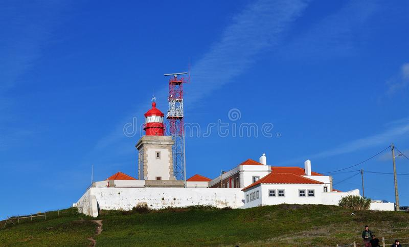 The lighthouse under a blue sky - Cape Roca royalty free stock photo