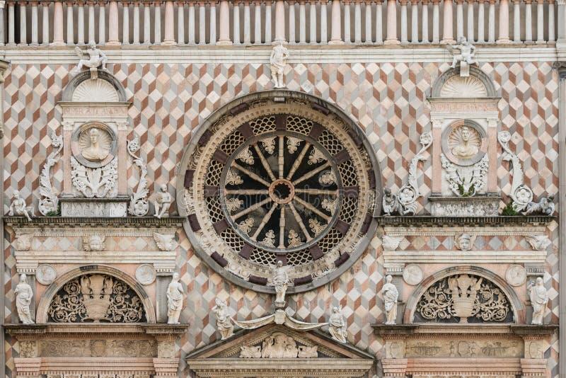 Detail of Capella Colleoni facade in Bergamo royalty free stock photos