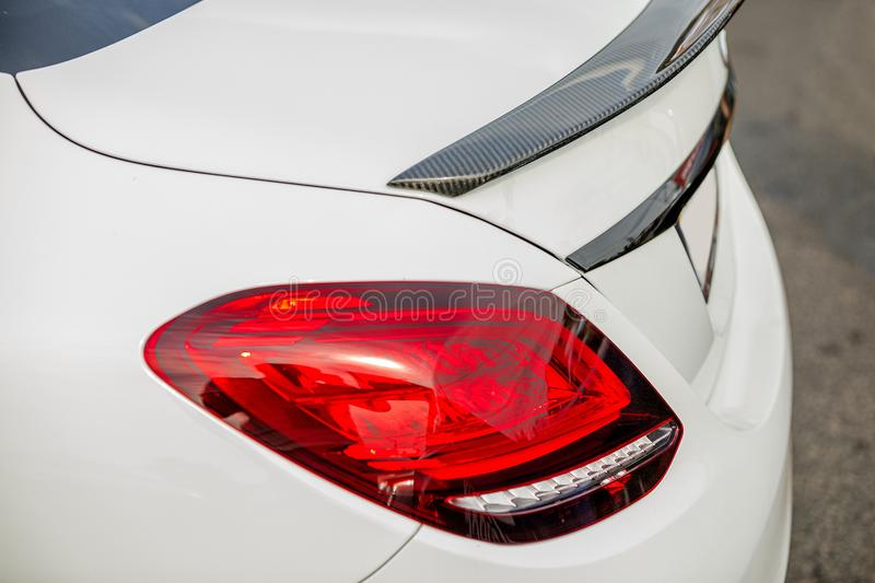 Detail of car. White sports car, Close-up royalty free stock images
