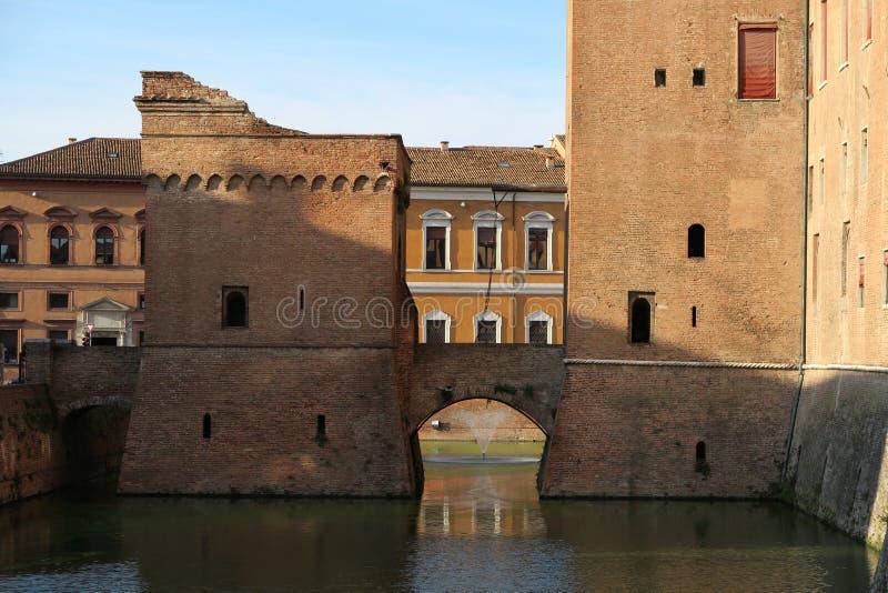 Detail of Castello Estense castle in Ferrara royalty free stock photo