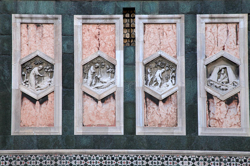 Detail of Cathedral Church Duomo Basilica di Santa Maria Del Fiore in Florence, Italy stock photography